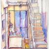 階段上のギャラリーから