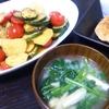 鮭ハンバーグ、ポン酢マリネ、味噌汁