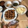 今日の晩御飯 山盛りポテトサラダとお土産のケーキ