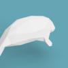 マナティのローポリゴン調ペーパークラフト(無料型紙)low-poly Manatee paper craft template