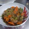 幸運な病のレシピ( 2124 )朝:ミズの炒め煮、味噌汁、マユのご飯