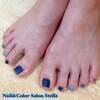 いろんな質感の青色で♡メンバーカラーなフットネイル☆フットスペシャルケアカラーコース