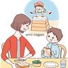 食事をする親子のイラスト
