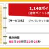 【ハピタス】ジャパンネット銀行 口座開設で1,140ポイント(1,140円)! 発行手数料・年会費無料♪