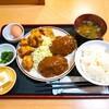 福徳食堂@原木中山 ハンバーグ定食(+鶏の唐揚げ250g)