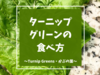 ターニップグリーン(Turnip Green・かぶの葉)の特徴と食べ方 | アメリカで野菜を美味しく【写真あり】