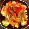 彩り野菜と豚肉のテンジャントマトケチャップ焼きそば