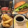 神戸牛チーズバーガーとフライドポテトR、ホットブレンドコーヒーS  アプリクーポン使って、1,300円! (@ フレッシュネスバーガー - @fb_higashiikebu in 豊島区, 東京都)