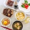 卵かけ納豆ご飯、えび団子のつみれ汁など(実家)
