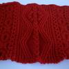 真っ赤な毛糸でアラン模様