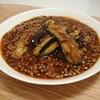 茄子と挽き肉の黒酢入り辛味煮込み