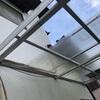 【台風前準備 波板撤去 雨戸張り替え塗装】