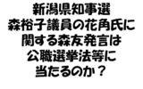 新潟県知事選:森裕子議員の花角氏に関する森友発言は公職選挙法等に当たるのか?
