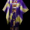 紫地暈し縞に鼓と扇・四季の花錦紗小紋×猫と手毬の繻子帯×扇柄羽織