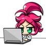 【今日のラクガキ】パソコンをするオベちゃんのイラスト