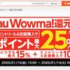 au Wowma!ではau Wowma!還元祭が1月14日まで開催!ポイント最大25倍