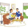 ゆっくりとした休日のひと時、ソファでくつろぐ夫婦の会話