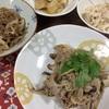 豚肉とキノコの塩麹炒め、おあげの甘辛煮、蓮根と白滝のきんぴら、大根とツナのサラダ