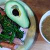 ソーセージ菜花ブロッコリー炒めと納豆穴子味噌汁