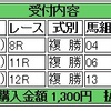 7/30(土)複勝コロガシの予想。9時時点オッズで1,200円→9,570円