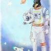 年賀状2018「宇宙服のアヌビス」