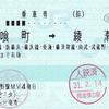 JR東日本  中野駅指定席券売機発行 乗車券 2