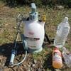 土曜日:草刈りに噴霧器を使う