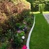 ヒバの生垣と花壇の様子