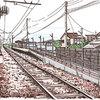 iPadで描いた風景画 新庄田中駅(富山地方鉄道)