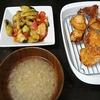 鶏から、水ナスサラダ、スープ