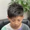 クールなさり気なくアシメスタイル 鈴鹿市ヘアサロン・バーバーそらまめの小学生ヘアスタイル