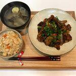 【献立・一汁一菜】炊き込みごはん+豚南蛮+味噌汁