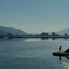 いつもの諏訪湖、いつもの青さ、いつもの透明感、いつもの美しさ。
