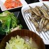 きびなごの唐揚げ、小松菜えのきのおひたし、味噌汁、刺身