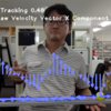 速度ベクトルのx成分(正負あり)をグラフ化する 坂を登って降りる等加速度運動がきれいなグラフに
