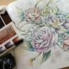 メイキング】水彩&色鉛筆で芍薬の花を塗ってみました☆大人のアート塗り絵より