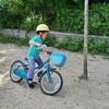 公園で息子と自転車の練習