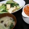 厚揚げチンゲンサイ炒め、人参糸こんきんぴら、味噌汁