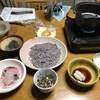 夜はハモ料理と古代米入り素麺としゃれこんだ。