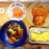 はんぺんフライ、サーモン、豚肉炒め、玉子焼き