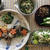 夏の盛合わせ(✴︎香菜のお浸し、ケールと雛豆のピーナツ味噌和え紹介)