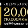 ちょびリッチ 【500名様限定】セディナゴールドクレジットカード発行&利用で20,000pt(¥10,000)