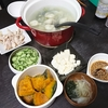 【夜】水餃子、スープ、サラダ、かぼちゃの煮物/【昼】お弁当