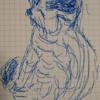 喫茶店のネコ 利き手の反対の手で描く