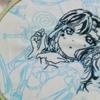 工程#5-花丸ちゃんの腕を刺し終わりそう***GALAXY HidE and SeeK/AZALEAを黒糸刺繍で仕上げる**サンシャイン!!-ジャケ刺繍