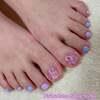 春色にアレンジ♡パープル&ピンクのツイード柄ネイル☆フットジェル