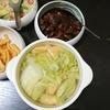 レバー赤味噌、白菜煮浸し、味噌汁