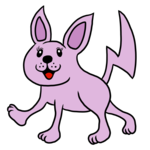 紫色のかわいいネズミのような猫 のイラスト