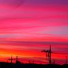 夏の空、赤い夕焼け
