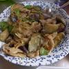 幸運な病のレシピ( 1539 )朝:ナスとバラ肉の味噌炒め、イワシ、塩サバ、鮭、カボチャ煮ころがし、味噌汁